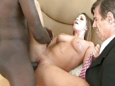 Dumb cuckold drink hot sperm from his wifes pussy