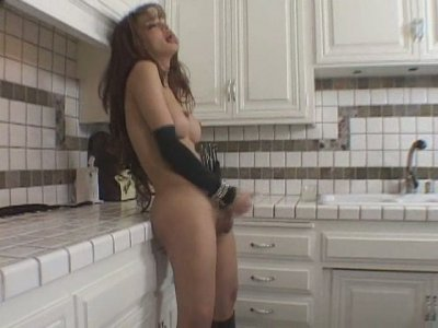 Hot shemale bitch Giselle prepares protein cocktail