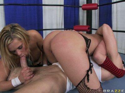Boxing trainer pounds bootylicious Shyla Stylez & Alanah Rae