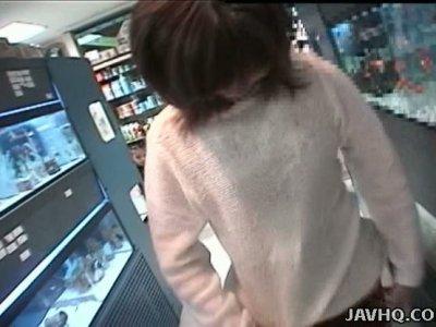 Japanese slut Riho Mishima is picked up in the public place