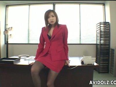 Japanese office chick Rena Kouzaki masturbating on her desk