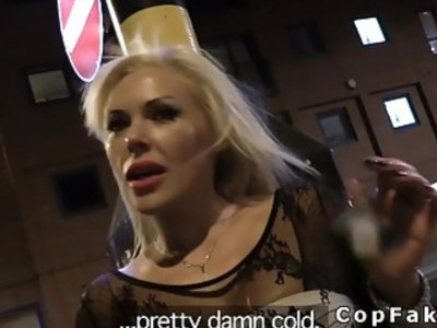Huge tits blonde in bodyhose bangs fake cop