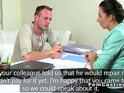 Female agent fucks repairman in an office